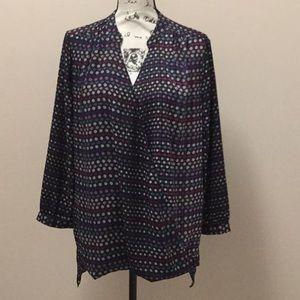 NYDJ burgundy purple blue and white tunic top